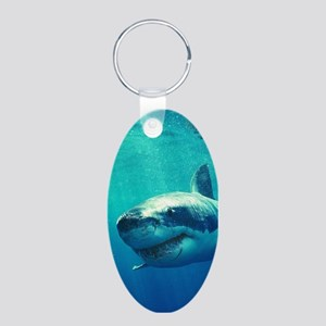 GREAT WHITE SHARK 1 Aluminum Oval Keychain