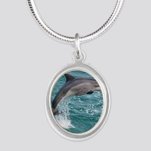 DOLPHIN Silver Oval Necklace
