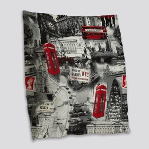 London Burlap Throw Pillow