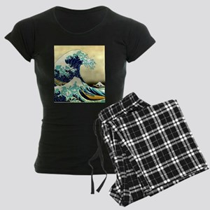 The Great Wave off Kanagawa Women's Dark Pajamas