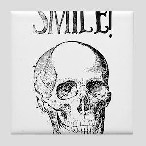 Smile! Skull smiling Tile Coaster