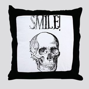Smile! Skull smiling Throw Pillow