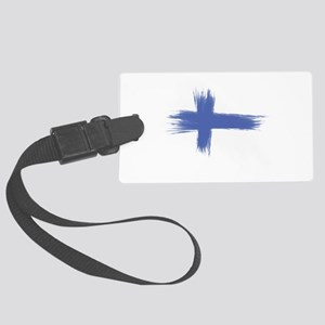 Finland Flag brush style Large Luggage Tag