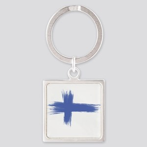 Finland Flag brush style Keychains
