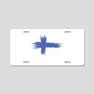 Finland Flag brush style Aluminum License Plate