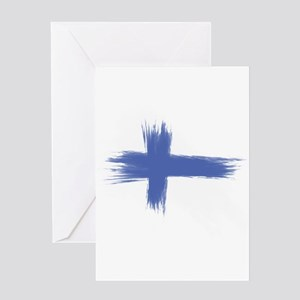 Finland Flag brush style Greeting Cards