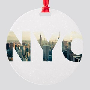 NYC for NEW YORK CITY - Typo Round Ornament