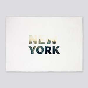 New York - Sunset - Typo 5'x7'Area Rug