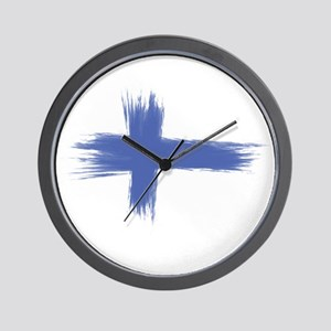 Finland Flag brush style Wall Clock