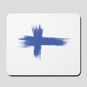 Finland Flag brush style Mousepad
