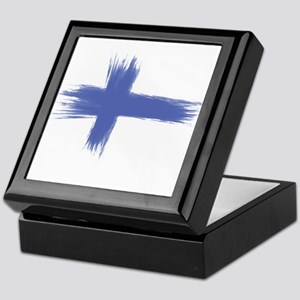 Finland Flag brush style Keepsake Box