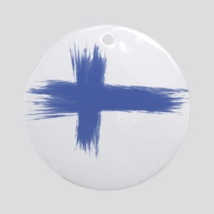 Finland Flag brush style Round Ornament