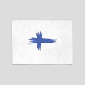 Finland Flag brush style 5'x7'Area Rug