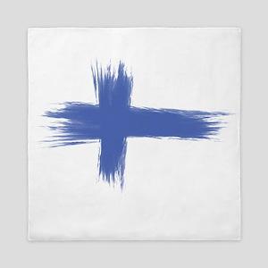 Finland Flag brush style Queen Duvet