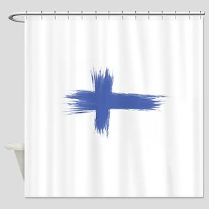 Finland Flag brush style Shower Curtain