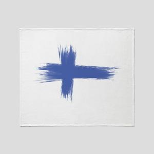 Finland Flag brush style Throw Blanket