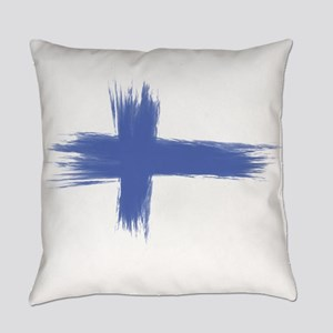 Finland Flag brush style Everyday Pillow