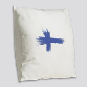 Finland Flag brush style Burlap Throw Pillow