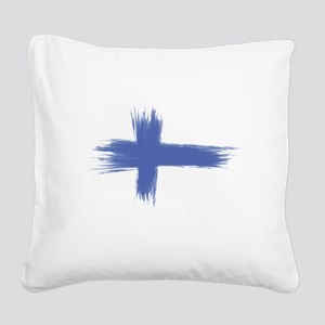 Finland Flag brush style Square Canvas Pillow