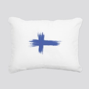 Finland Flag brush style Rectangular Canvas Pillow