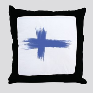 Finland Flag brush style Throw Pillow