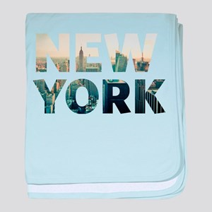 New York - Sunset - Typo baby blanket