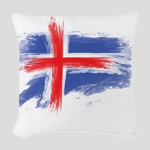 Iceland flag Woven Throw Pillow