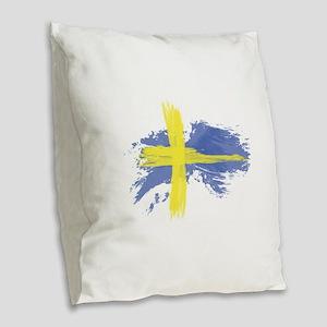 Sweden Flag Stockholm Burlap Throw Pillow