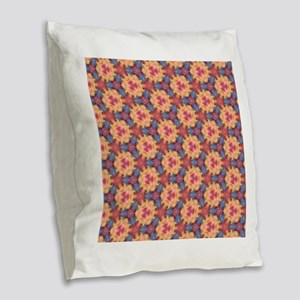 Colorful Sky Roses Floral Flow Burlap Throw Pillow