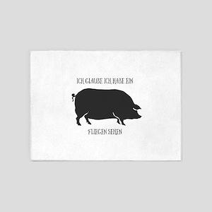 Ein Schwein fliegen sehen. 5'x7'Area Rug