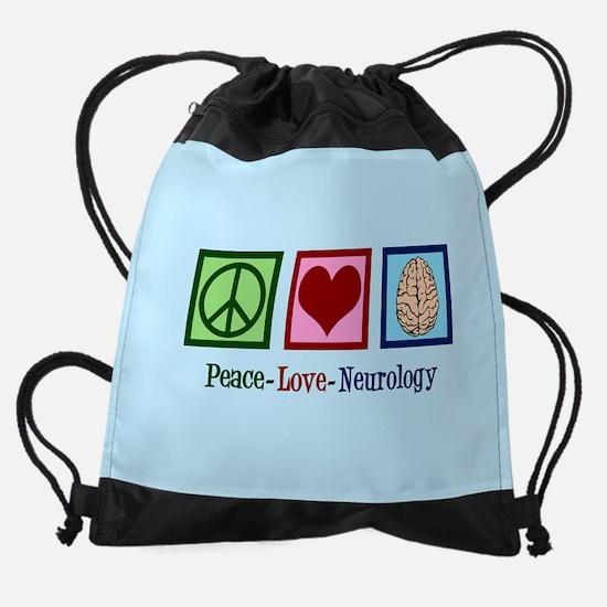Peace Love Neurology Drawstring Bag
