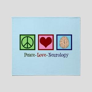 Peace Love Neurology Throw Blanket