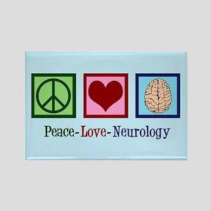 Peace Love Neurology Rectangle Magnet