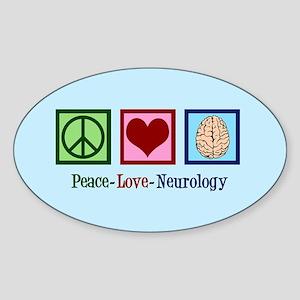 Peace Love Neurology Sticker (Oval)
