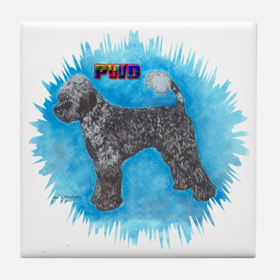 Portuguese Water Dog Ticking Tile Coaster