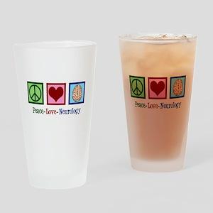 Peace Love Neurology Drinking Glass