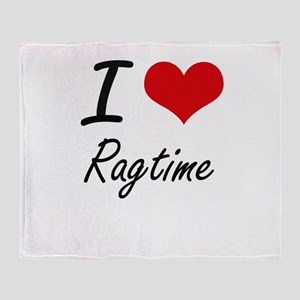 I Love Ragtime Throw Blanket