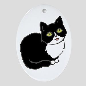 Tuxedo Cat Tuxie Oval Ornament