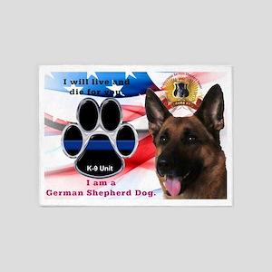 German Shepherd K-9 5'x7'Area Rug