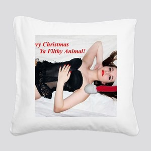 Naughty Chrstmas Girl Square Canvas Pillow