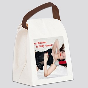 Naughty Chrstmas Girl Canvas Lunch Bag