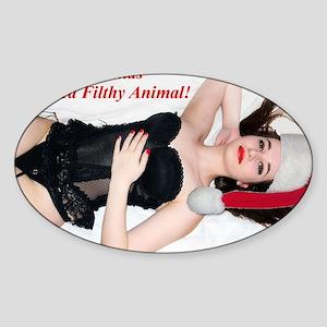 Naughty Chrstmas Girl Sticker (Oval)