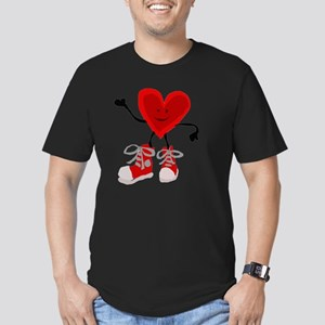 Funny Heart and Sneake Men's Fitted T-Shirt (dark)