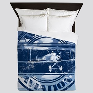 Retro Aviation Art Queen Duvet