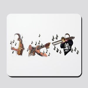 Trio musicians with guitar trombone and Mousepad