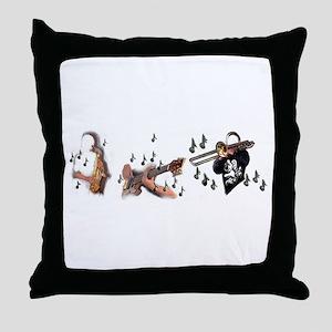 Trio musicians with guitar trombone a Throw Pillow