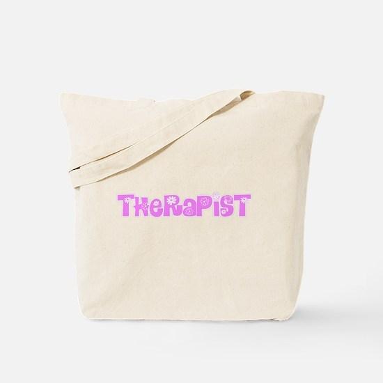 Therapist Pink Flower Design Tote Bag