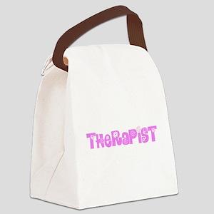 Therapist Pink Flower Design Canvas Lunch Bag