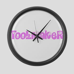 Toolmaker Pink Flower Design Large Wall Clock