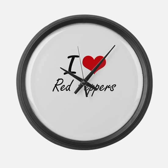 I Love Red Peppers Large Wall Clock